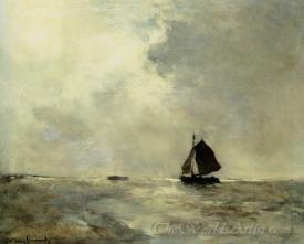 Sailing Boat In Choppy Seas