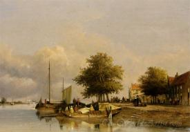 Townsfolk On A Quay