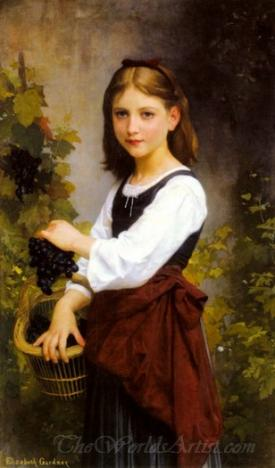 Young Girl Holding A Basket Of Grapes