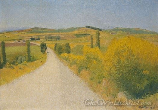 Route Bordee De Genets  (Road Bordered With Broom Flowers)