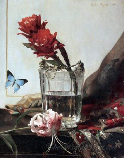 A Flowering Cactus In An Etched Crystal Cooler And A Butterfly