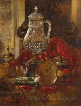 A Crystal Tankard And Other Precious Objects Arranged On A Draped Cloth