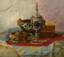 Ladys Gold Box A Crystal Chalice And Other Objects On A Draped Marble Table