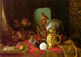 A Still Life With Fruit Objets D Art And A White Rose On A Table