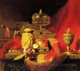Still Life With Iris And Urns On A Red Tapestry