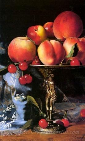 Still Life With Peaches Plums And Cherries