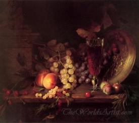 Still Life With Fruit A Glass Of Wine And A Bronze Vessel
