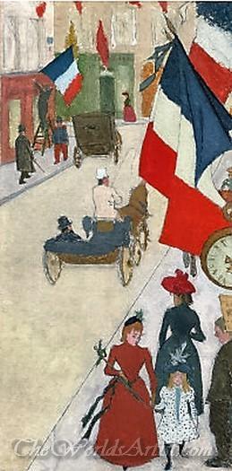 Paris Rue De Parme On Bastille Day