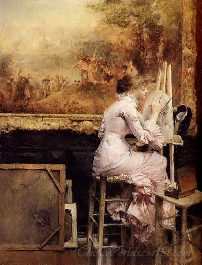 Young Watercolorist In The Louvre