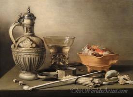 Still Life With A Stoneware Jug Berkemeyer And Smoking Utensils