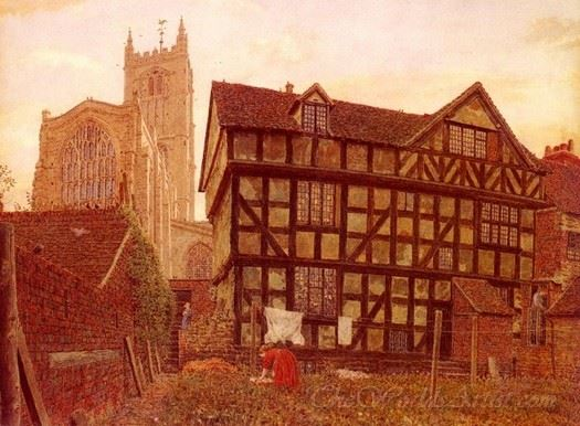 Church And Ancient Uninhabited House At Ludlow