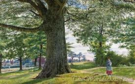 A Girl By A Beech Tree In A Landscape