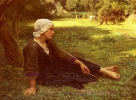 Girl Guarding The Cows