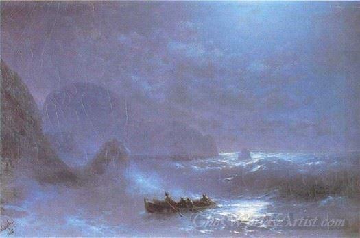 A Lunar Night On A Sea