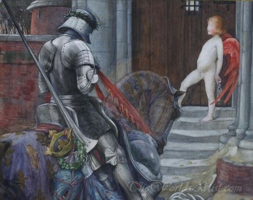 Knight And Cupid Before A Castle Door