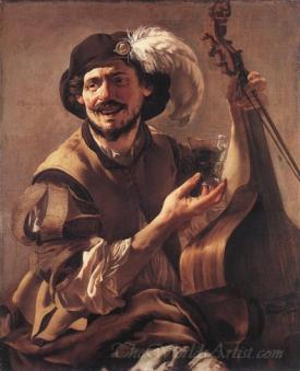 A Laughing Bravo With A Bass Viol And A Glass