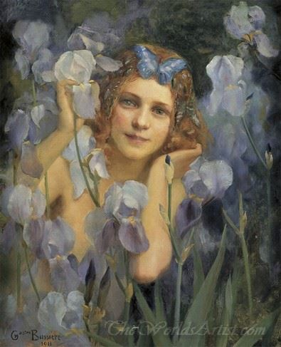 Wood Nymph Among Irises