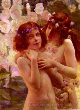 Deux Enfants Aux Couronnes De Fleurs  (Two Children In Flowers Wreaths)