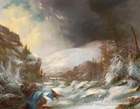 A Cascading Stream Through Snow Covered Mountains