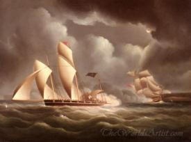 A British Frigate Attacking A Pirate Lugger At Night