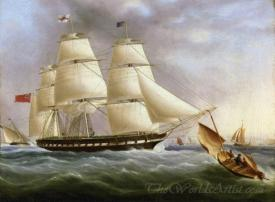 A Three Masted Ship Off Dover