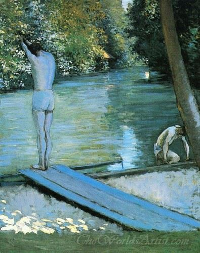 Bather Preparing To Dive Banks Of The Yerres