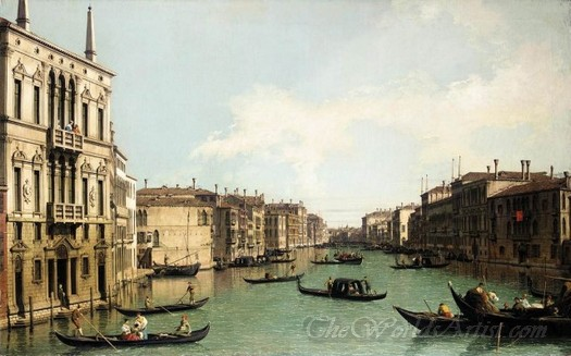 Venice The Grand Canal Looking North East From Palazzo Balbi To The Rialto Bridge