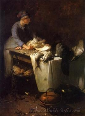 A Young Girl Preparing Poultry