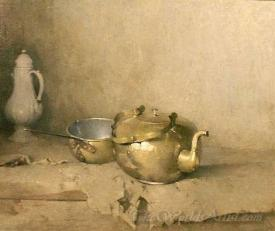 Brass Kettle With Porcelain Coffee Pot