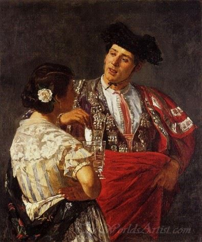 Offering The Panel To The Bullfighter