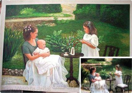 hand painted family portrait in oil from a photo