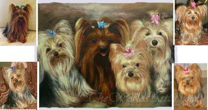 four dog photographs made into one custom pet oil portraiture