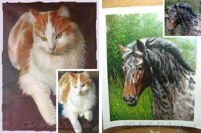 hand painted cat portrait oil paintings on canvas