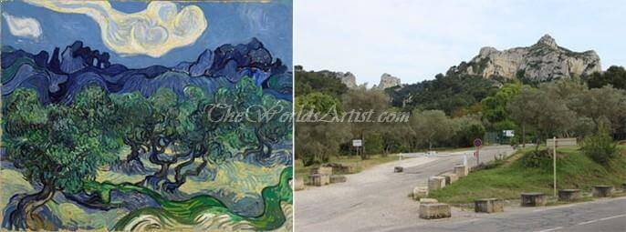 Vincent Van Gogh Olive Trees in a Mountainous Landscape
