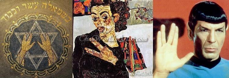 Egon Schiele Self Portrait With Black Clay Pot and Star Trek Vulcan Hand Salute