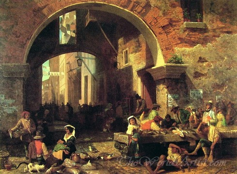 Original Albert Bierstadt Roman Fish Market, Arch of Octavius Photo