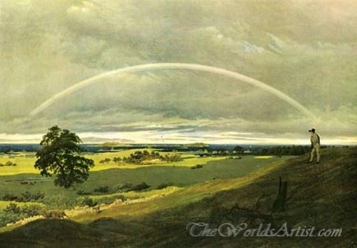 Original Caspar David Friedrich Landscape with Rainbow