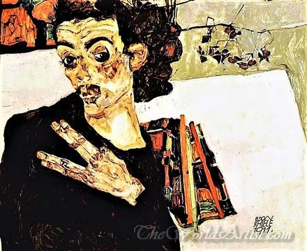 Original Egon Schiele Self Portrait With Black Clay Pot