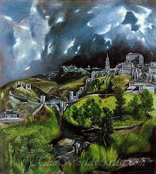 Original El Greco A View of Toledo