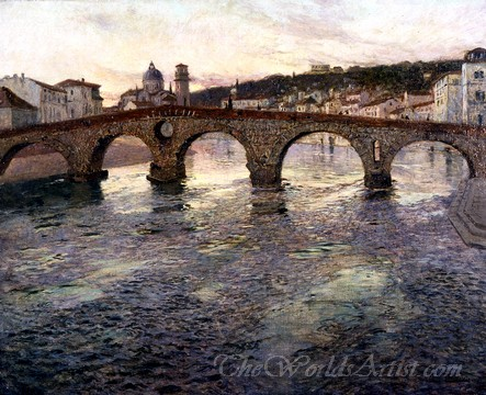 Original Frits Thaulow The Adige River at Verona
