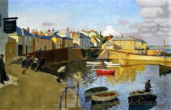 Original Harold Harvey A View Of Mousehole Harbour Cornwall