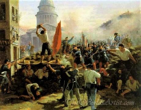 Original Horace Vernet Painting of Battle at Soufflot Barricades at Rue Soufflot