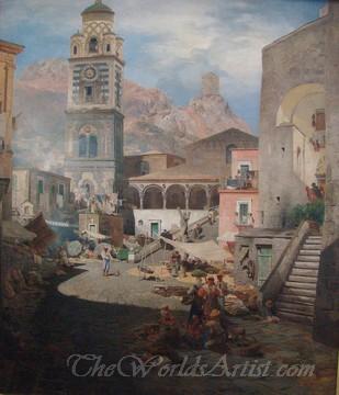 Original Oswald Achenbach Market Square in Amalfi