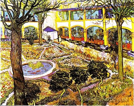 Original Vincent Van Gogh Garden of the Hospital in Arles
