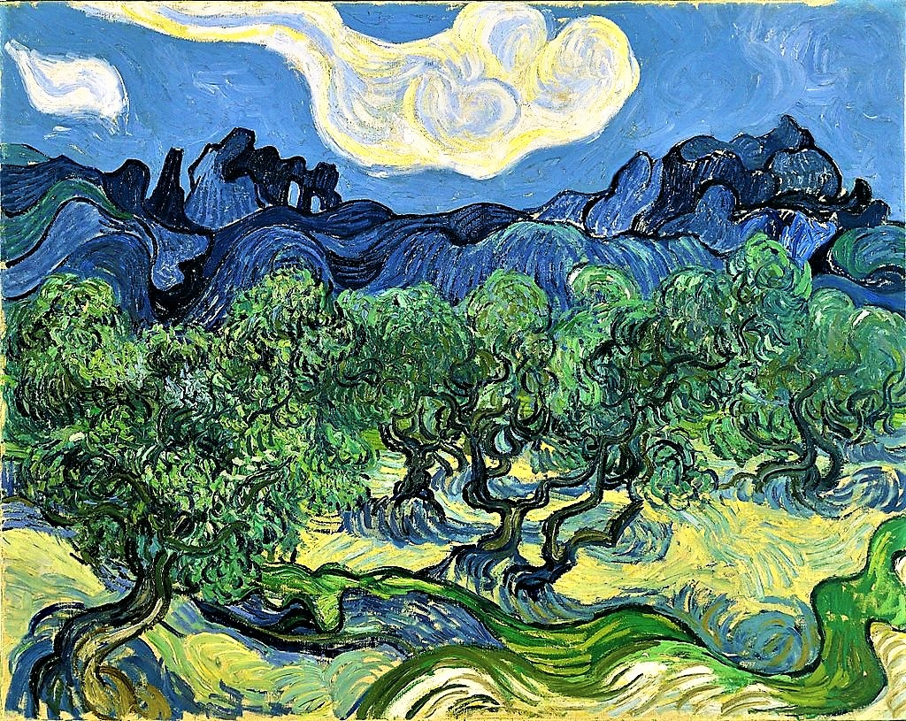 Original Vincent Van Gogh Olive Trees in a Mountainous Landscape