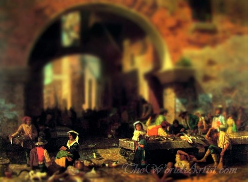 Tilt-Shift Albert Bierstadt Roman Fish Market, Arch of Octavius Photo