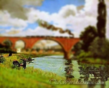 Tilt-Shift Armand Guillaumin Bridge over the Marne at Joinville