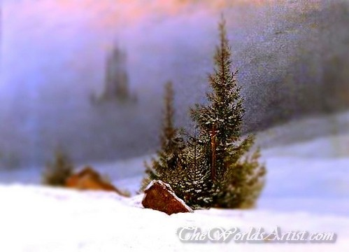 Tilt-Shift Caspar David Friedrich Winter Landscape with Church