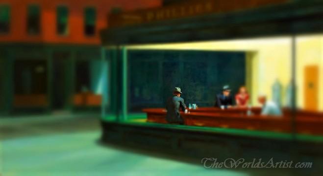 Tilt-Shift Edward Hopper Nighthawks