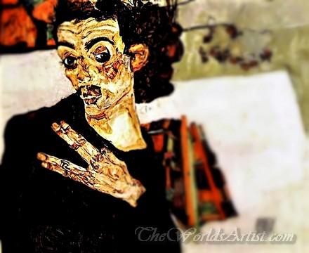 Tilt-Shift Egon Schiele Self Portrait With Black Clay Pot